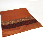 Rust silk runner with three stripes