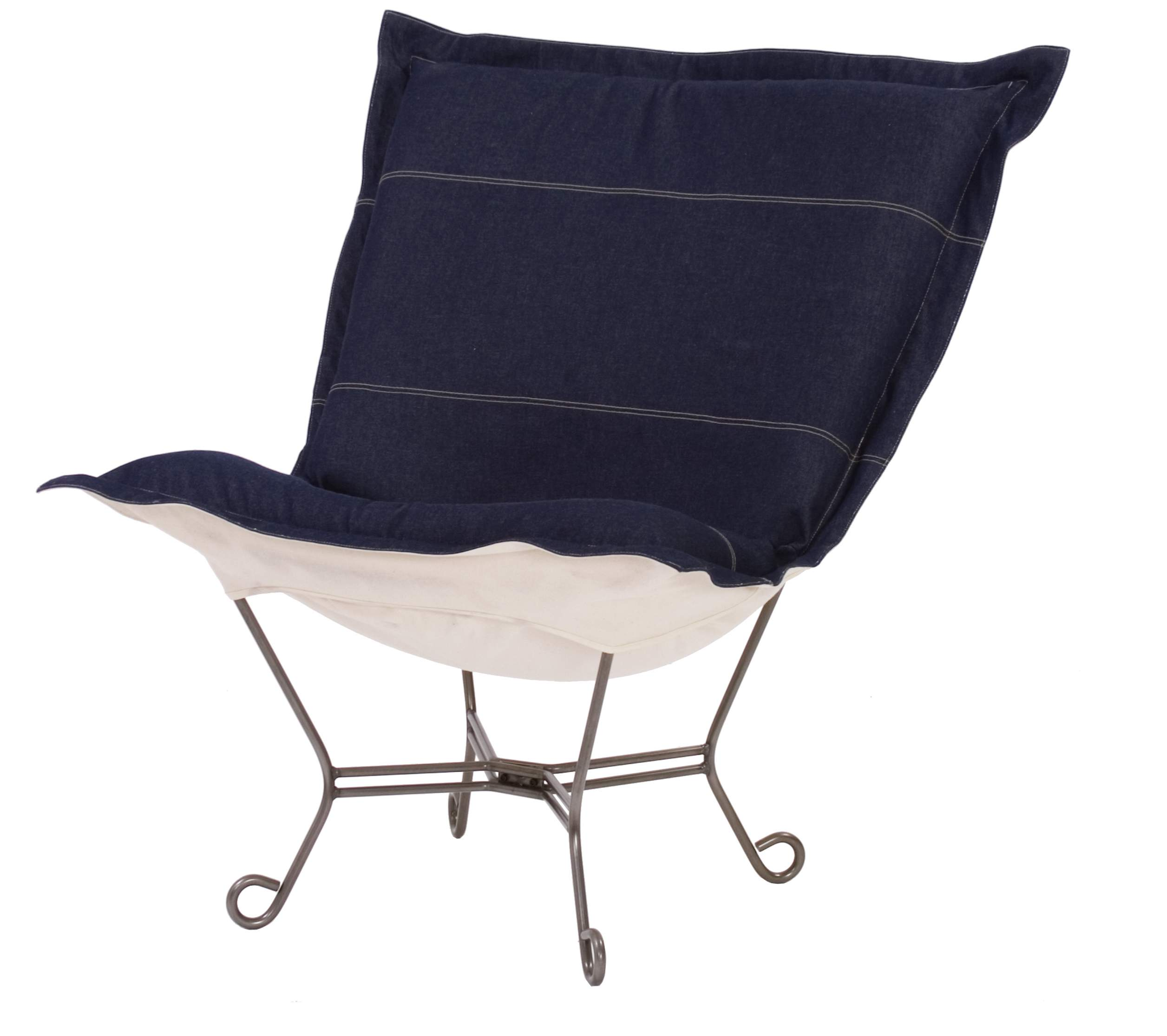 chicago textile puff chair denim indigo