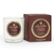 Voluspa Golden Cypress Sawara Boxed Votive in Glass