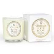 Voluspa Suede Blanc Boxed Votive in Glass