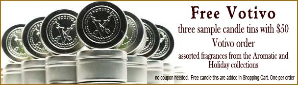Three Free Votivo sample tin candles