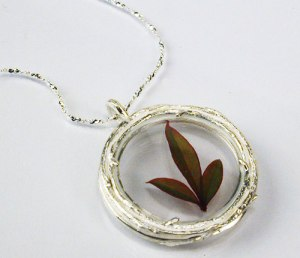 Catherine Weitzman Sterling Silver Double Branch Locket Necklace