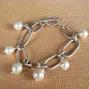 C-Anton Jewelry Hammered Links with Pearls Bracelet