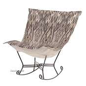 Chicago Textile Puff Rocker-Ikat Stone