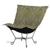 Chicago Textile Puff Chair-Ikat Willow