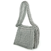 Masha Silver Messenger Handbag by Escama Studio