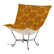Chicago Textile Puff Chair-Medallion Spice