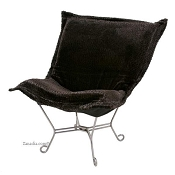 Chicago Textile puff chair-Sable Ebony