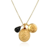 Black Onyx Lotus Lacksmi charm necklace by Satya Jewelry