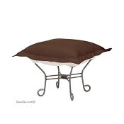 Chicago Textile Puff Ottoman-Starboard Chocolate-Patio