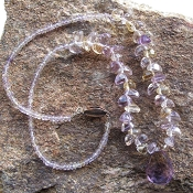 Iolite Bead Chain with Amethyst Iolite Briolette Necklace
