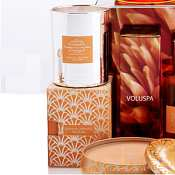 Voluspa 10 oz Metallic Candle-Velvet Box - Dahlia Orange Bloom