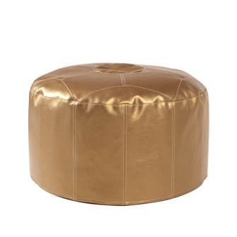 Pouf Ottoman in Shimmer Gold-Short