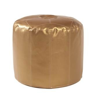 Pouf Ottoman in Shimmer Gold-Tall