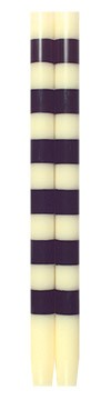 Ana Designs Set of Two Taper Candles-Black and Ivory with Six stripes