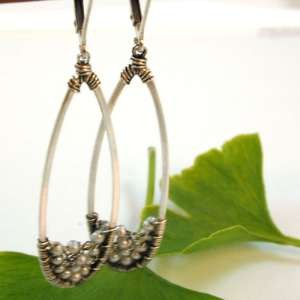 Tear drop wire wrapped Platinum Pearls Earrings