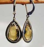 Whiskey quartz teardrop earrings by Dana Kellin