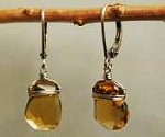 Whiskey quartz drop earrings by Dana Kellin