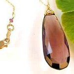 Plum Quartz pendant on long fine chain Necklace