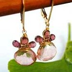 Pink Garnet and Quartz Earrings