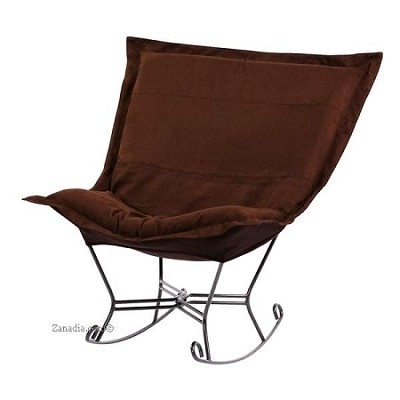 Chicago Textile puff rocker-Microsuede Chocolate