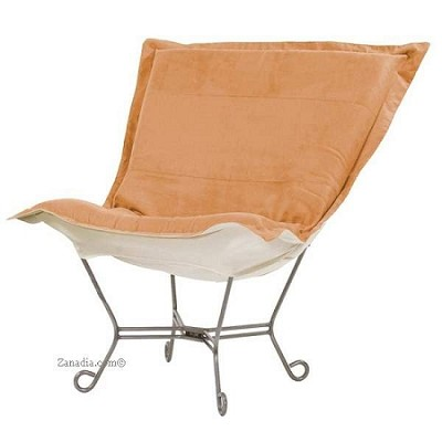 Chicago Textile puff chair-Microsuede Tangerine