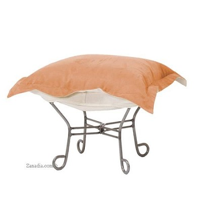 Chicago Textile puff ottoman-Microsuede Tangerine