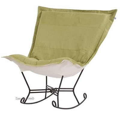 Chicago Textile puff rocker-Microsuede Willow