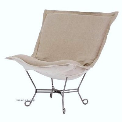 Howard Elliott puff chair-Prairie Linen Natural