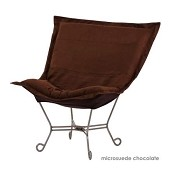 Chicago Textile puff chair-Microsuede Chocolate