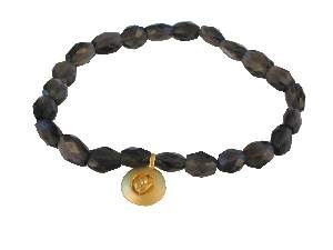 Smoky Topaz & Gold Lotus bracelet by Satya Jewelry