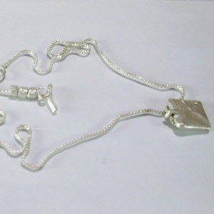 Saundra Messinger Small Square Pendant NK with one diamond & 3 beads