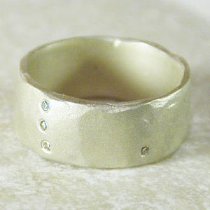 Saundra Messinger Sterling Thin Band Ring with seven diamonds