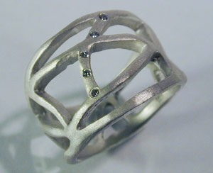 Saundra Messinger Cobweb ring-sterling silver with five diamonds