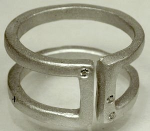 Saundra Messinger Open Bar ring-sterling silver with three diamonds Size 9.5