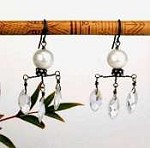 Three-Teardrop Wire Earrings with pearl solitaires & rock crystals by Susan Goodwin