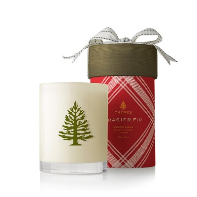 Thymes Frasier Fir White Candle-Wood Wick (Red Check Box)