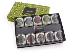 Voluspa luxury votive gift set with ten assorted basic black votives.