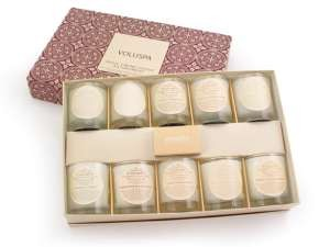 Voluspa luxury votive gift set with ten assorted basic creme votives.