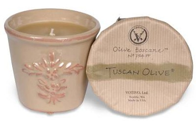 Votivo Tuscan Olive candle-terracotta jar