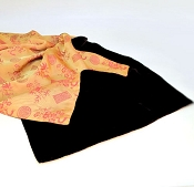 Gold and pink brocaded silk scarf- chocolate velvet reverse