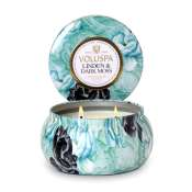 Voluspa Linden and Dark Moss 2 Wick Candle Tin