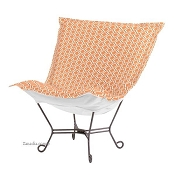 Chicago Textile Puff Chair-Geo Tangerine-Patio