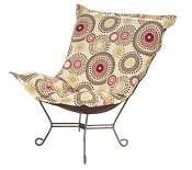 Chicago Textile Puff Chair-Orbit Poppy