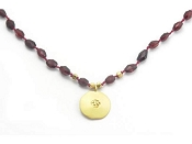 Red Garnet Om Pendant by Satya Jewelry