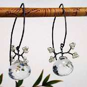 Rock Crystal Berry Earrings on almond-shaped wire with pearl leaves by Susan Goodwin