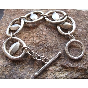 Large Link Hammered Bracelet by Evelyn Knight