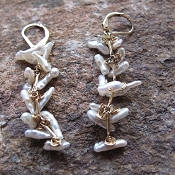 River Song Keishi Pearl and Gold Twig Earrings