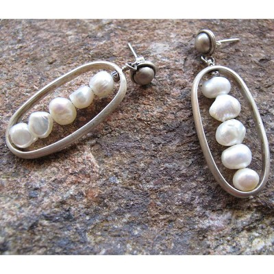 C-Anton Jewelry Oval Cage with Pearls Earrings