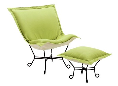 Chicago Textile puff chair-Titan Kiwi